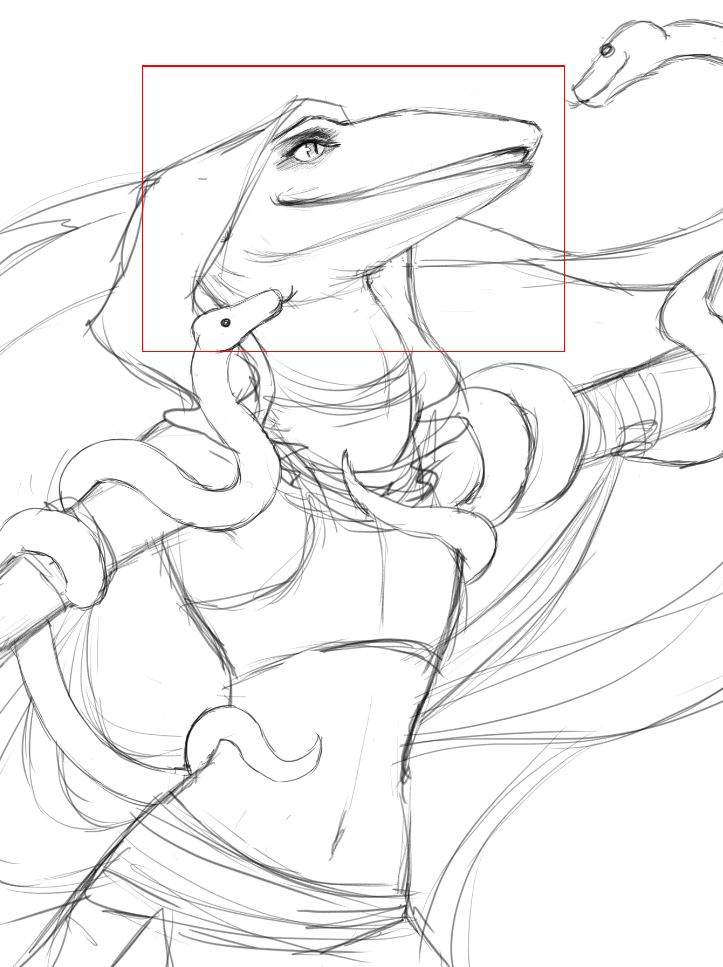 sketch of an anole lizardfolk dancer